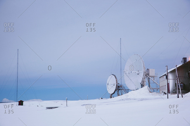 Isfjord Radio, an former radio telecommunications building, now a hotel for tourists in Spitsbergen