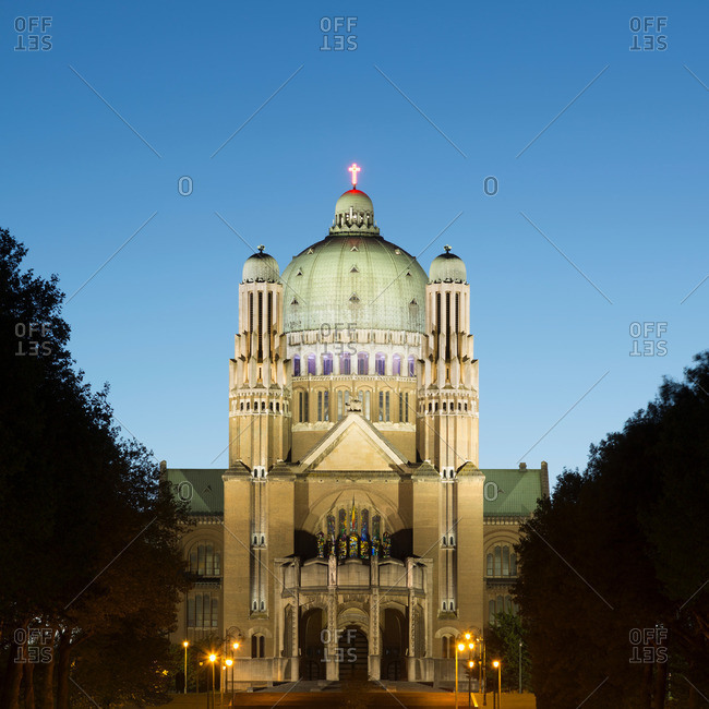 National Basilica of the Sacred Heart at dusk, Brussels, Belgium