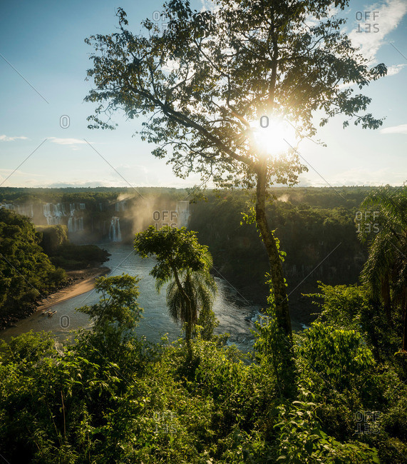 Distant view of Iguazu falls, Parana, Brazil