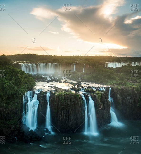 Elevated view of Iguazu falls, Parana, Brazil