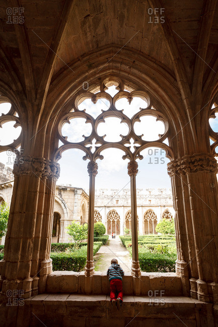 Gothic cloister, Santes Creus Monastery, Aiguamurcia, Catalonia, Spain