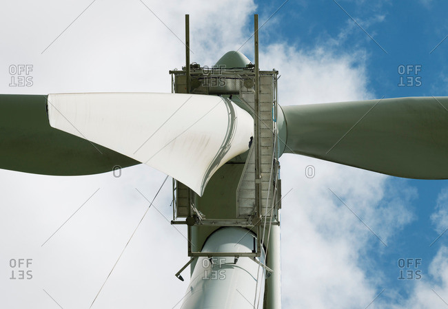 Close up of the blades of a wind turbine