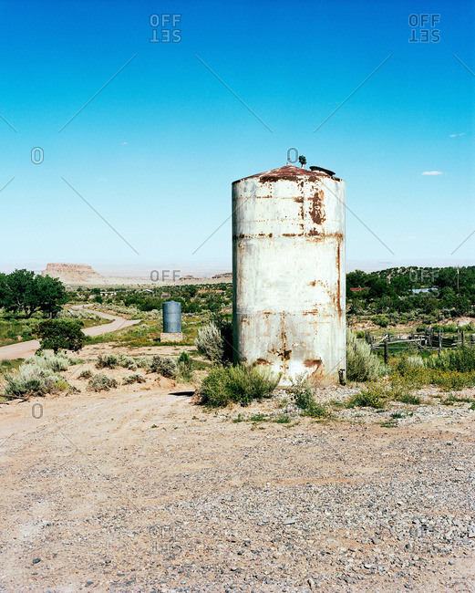 Water tank in rural setting, New Mexico, USA