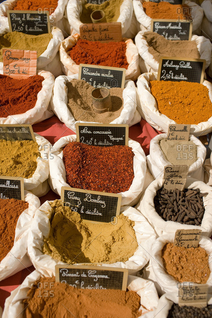 spices for sale at outdoor market