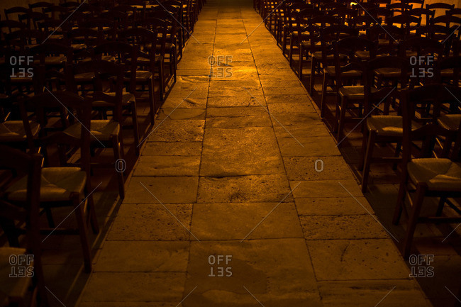 Church aisle from the Offset Collection