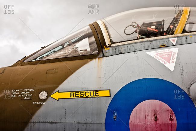 Jet plane cockpit, side view