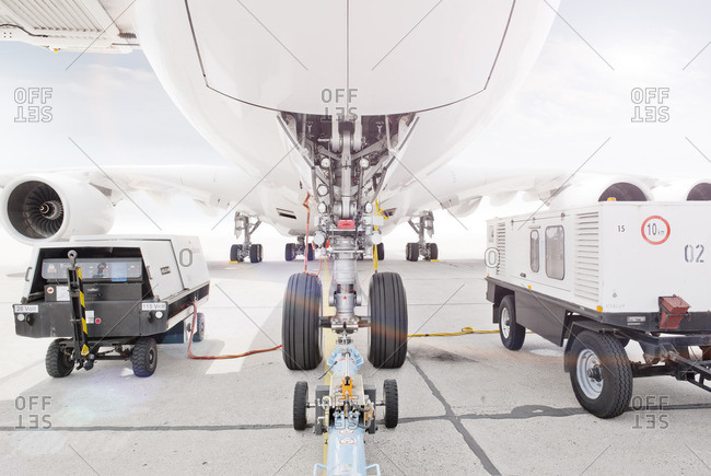 Underside of a commercial jet