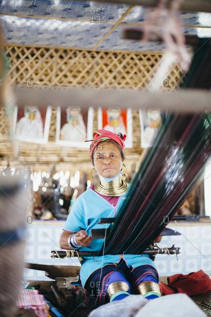 Traditional long neck woman in Bagan, Myanmar