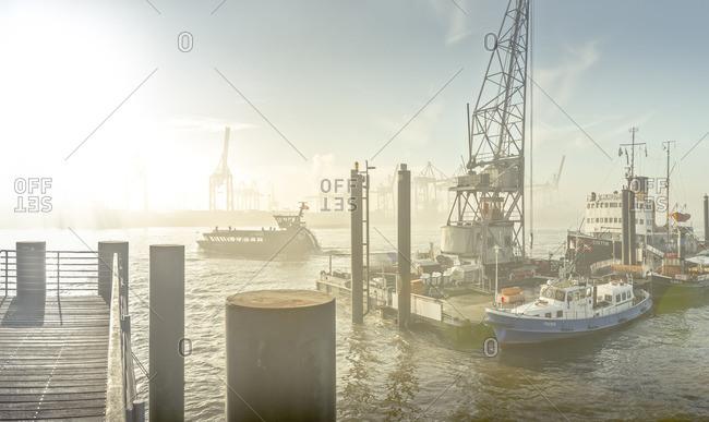 Hamburg, Germany - October 12, 2015: Boats at pier in Hamburg