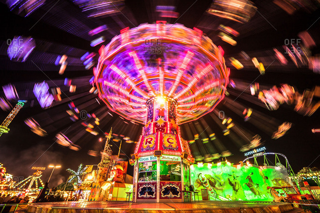 Munich, Germany - October 12, 2015: Carousel ride at night