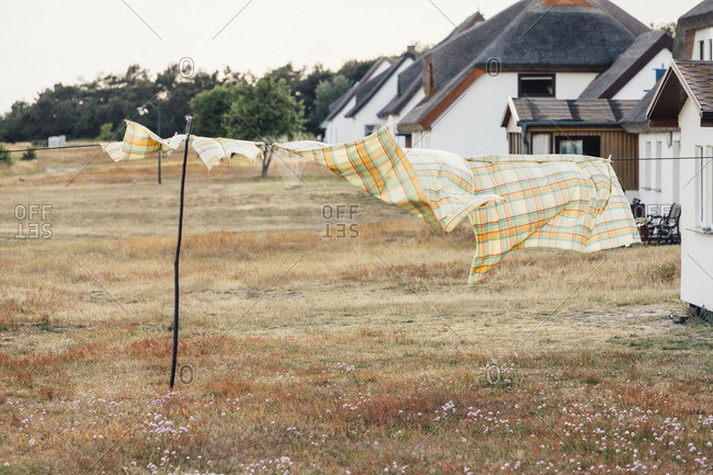 Clothes drying in front of houses in Neuendorf