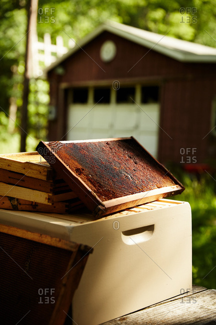 Bee hive in a stack outside