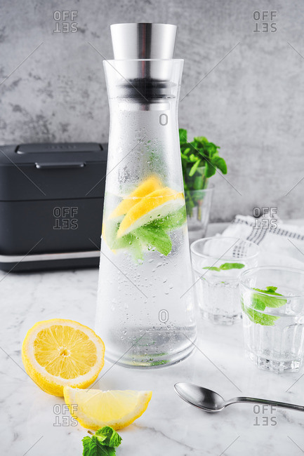 Water flavored with lemon and mint