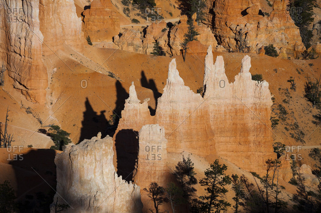 Hoodoos casting shadows in Bryce Canyon