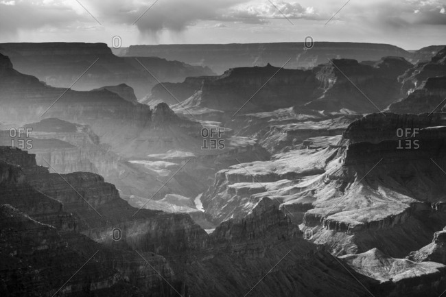 Lights and shadows in the evening at Grand Canyon