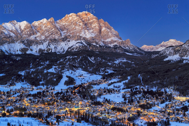 Evening landscape of Cortina D'Ampezzo and mount Cristallo
