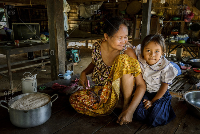 Siem Reap, Cambodia - August 19, 2014: A Cambodian mother and daughter