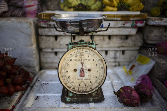 Siem Reap, Cambodia   - August 26, 2014: Scale in a market
