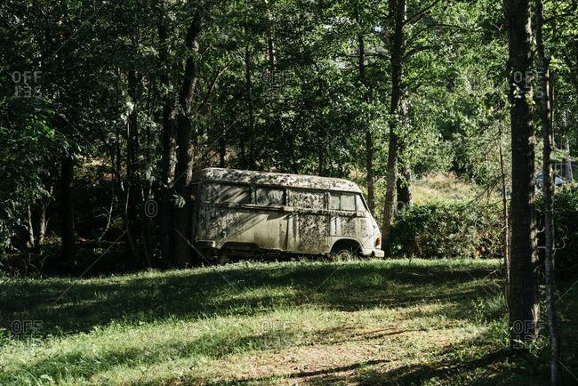 July 13, 2016: Old, abandoned van in backyard
