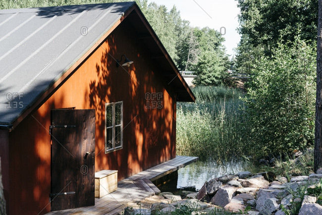 Rustic house on water in Finland