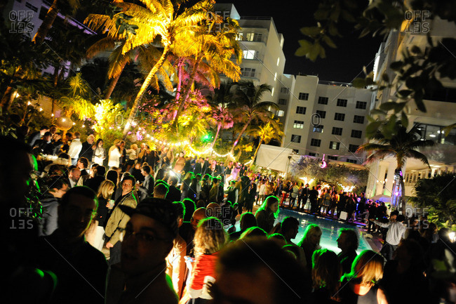 Crowd at outdoor party, Miami