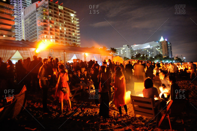 Crowd at beach party in Miami