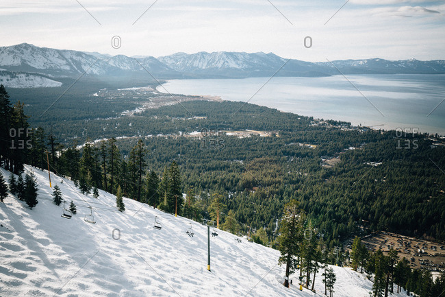 Ski lift on a snowy mountain slope at Lake Tahoe