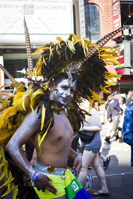 7/1/13: A costumed participant at the Gay Pride parade in Toronto, Canada.
