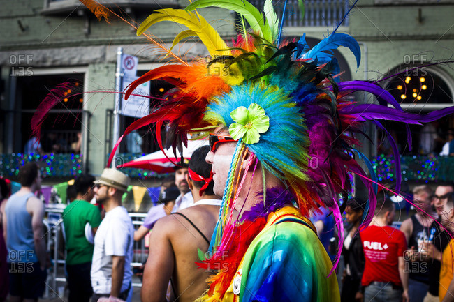 7/1/13: Colorful costumes at the Gay Pride parade in Toronto, Canada.