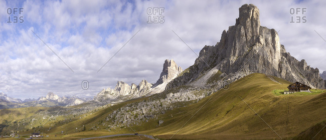 View of huts along the Giau Pass in the Dolomites, in the province of Belluno in Italy