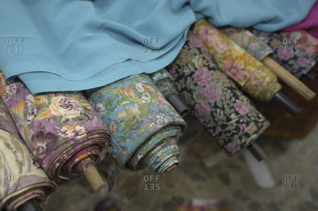 Bolts of fabric in Bikaner, India
