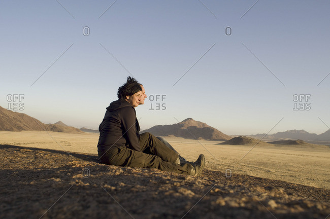 Namibia, Africa - June 15, 2009: Hiker in Africa
