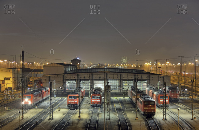 Baden-Wurttemberg, Germany - December 15, 2009: Night view of a railway station