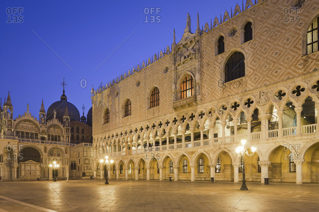 Night view of Doge's Palace, Piazza San Marco, Venice, Italy