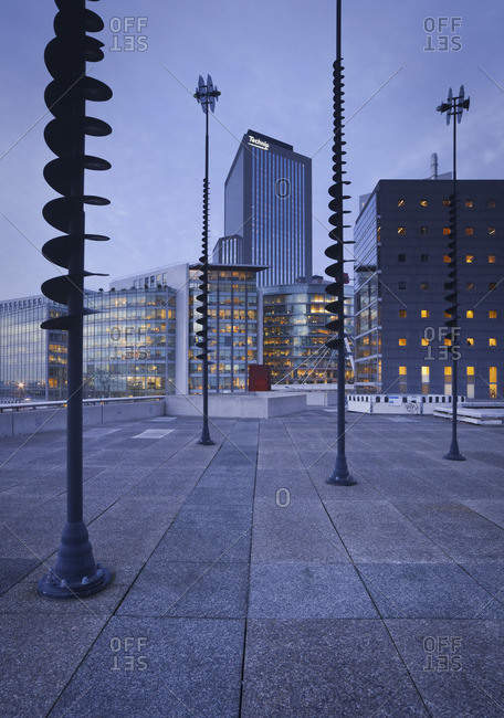 Paris, France - January 15, 2010: A night scene of La Defense, a business district in the city center