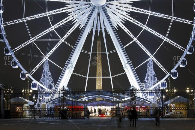 Paris, France - January 15, 2010: Night view of the Roue de Paris Ferris wheel in the Place de la Concorde