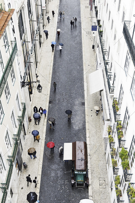 Lisbon, Portugal - March 15, 2011: Bird's eye view of a street