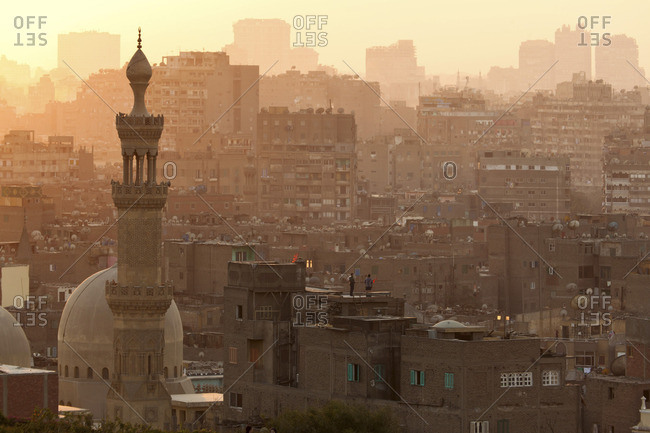 City scape of Cairo at dusk