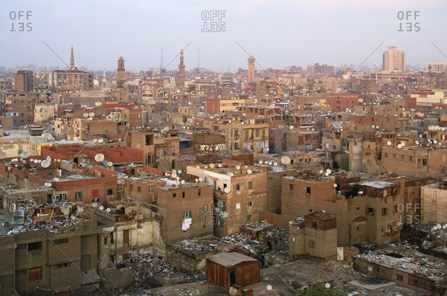 Cityscape of Cairo featuring over abundance of uncollected garbage