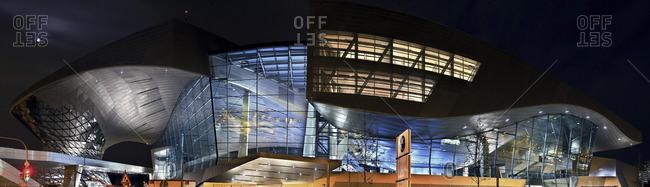 Munich, Germany - June 16, 2007: Night view of BMW World complex