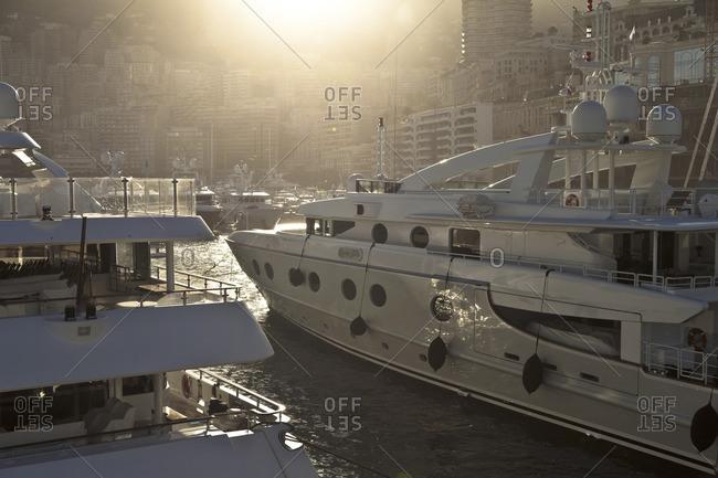 Port Hercules, Monaco - April 15, 2012: Boats in the marina