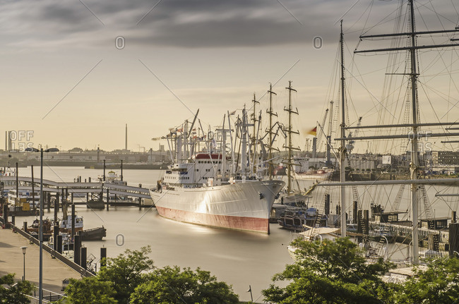 Hamburg, Germany - August 15, 2012: The Cap San Diego, a museum ship which rests in the Port of Hamburg
