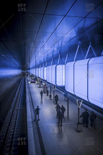 Hamburg, Germany - November 15, 2012: Interior of railway station at HafenCity