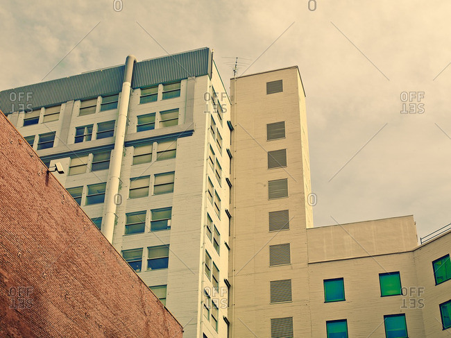 Low angle view of city office buildings