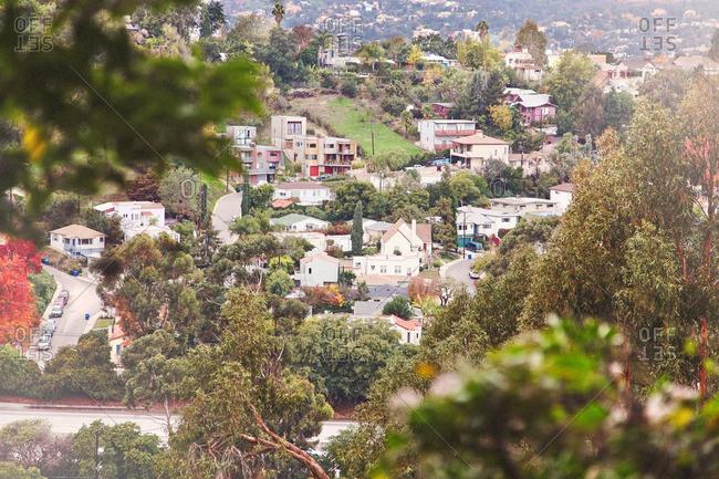 View of the Hillside neighborhood of Silverlake in Los Angeles, CA