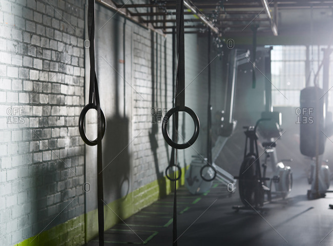 Exercise rings in a gym