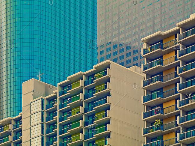 Modern apartment buildings in urban area