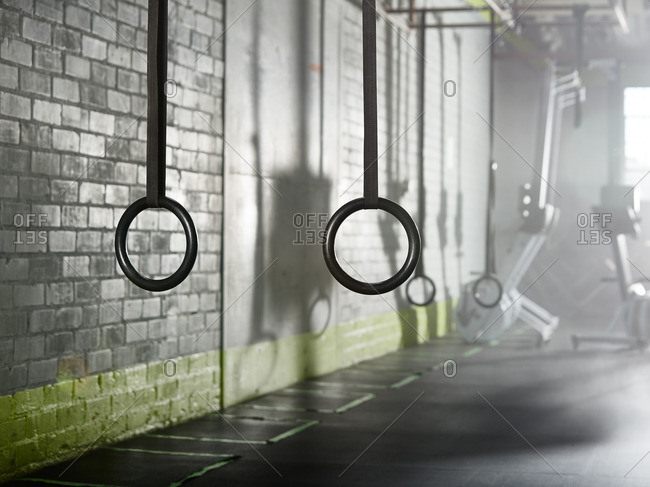Close up of exercise rings in a gym