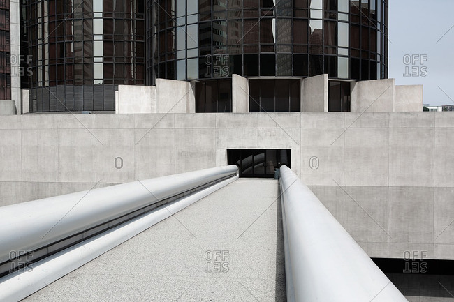 Bridge leading to entrance of a modern building