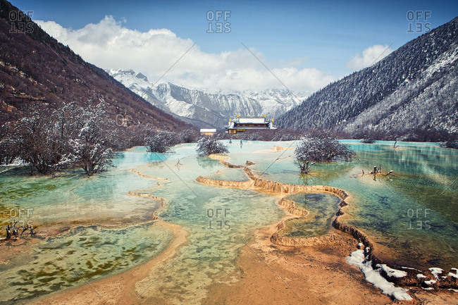 Blue hot springs pools in Huanglong, China